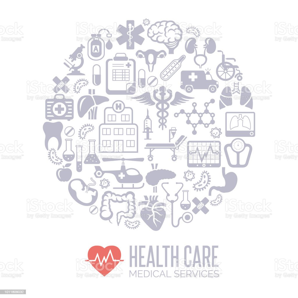 Medicine and healthcare collage vector art illustration