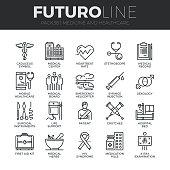 Medicine and Healthcare Futuro Line Icons Set