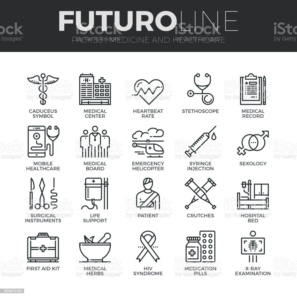 Medicine and Healthcare Futuro Line Icons Set vector art illustration