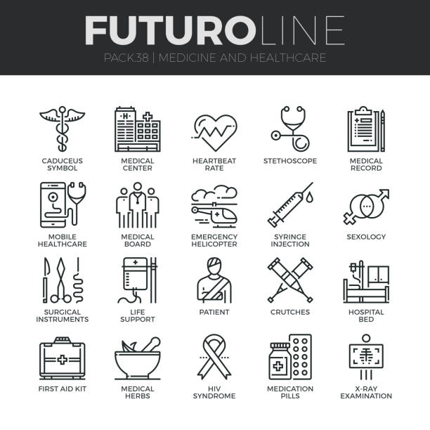 Medicine and Healthcare Futuro Line Icons Set Modern thin line icons set of healthcare professionals and medical equipment. Premium quality outline symbol collection. Simple mono linear pictogram pack. Stroke vector symbol concept for web graphics. doctor and patient stock illustrations