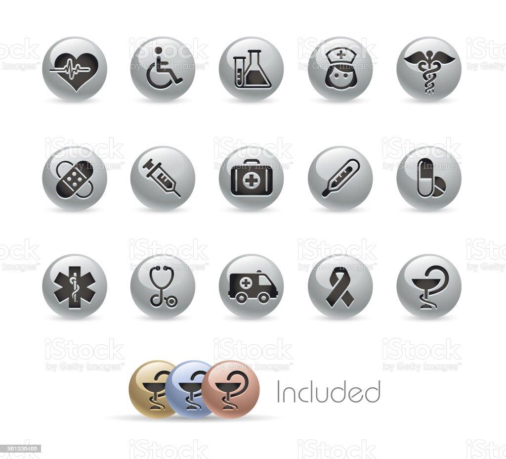 Medicine and Healthcare Icon Set // Metal Round Series vector art illustration