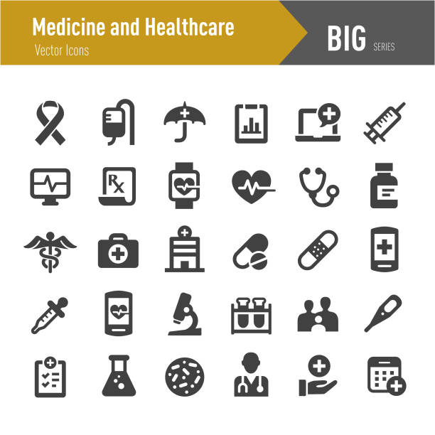 illustrazioni stock, clip art, cartoni animati e icone di tendenza di medicine and healthcare icons - big series - farmaco