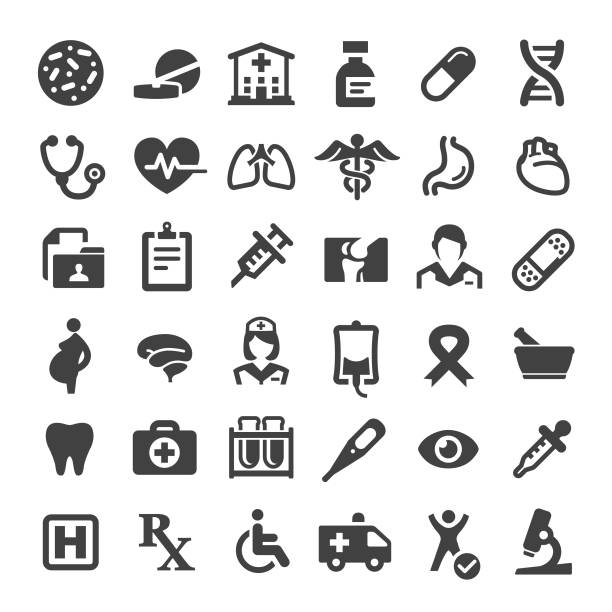 Medicine and Healthcare Icons - Big Series Medicine, Healthcare, hospital, medical x ray stock illustrations