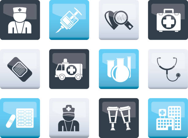 Medicine and healthcare icons over color background Medicine and healthcare icons over color background - vector icon set medico stock illustrations