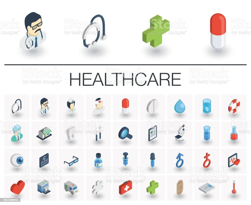 Medicine and healthcare isometric icons. 3d vector vector art illustration