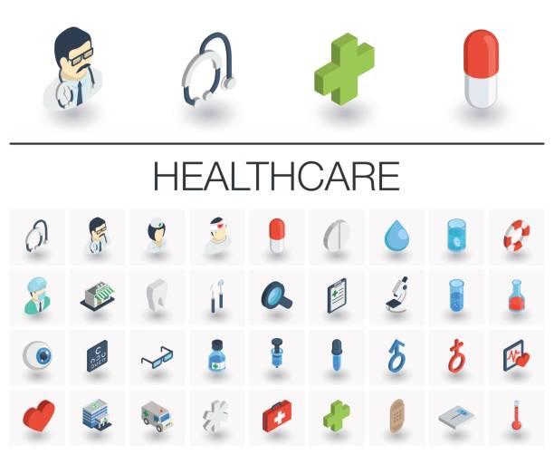 Medicina e saúde isométrica ícones. 3D vector - ilustração de arte em vetor