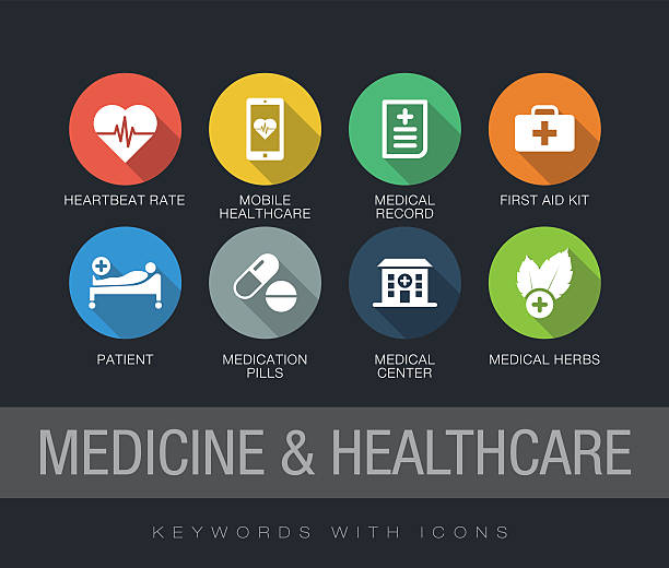 medicine and healthcare keywords with icons - 긴 그림자 그림자 stock illustrations