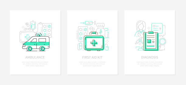 Medicine and healthcare - line design style banners vector art illustration