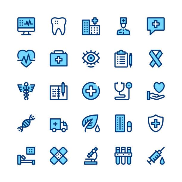 stockillustraties, clipart, cartoons en iconen met geneeskunde en gezondheidszorg lijn pictogrammen instellen. moderne grafisch ontwerpconcepten, eenvoudige symbolen, lineaire lijn webelementen, pictogrammen collectie. minimale dunne lijn ontwerp. premiumkwaliteit. pixel perfect. vector overzicht pictogrammen - sneakpreview