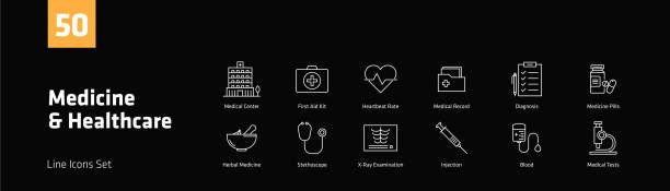 ilustraciones, imágenes clip art, dibujos animados e iconos de stock de medicina y salud los iconos juego - infografías de medicina