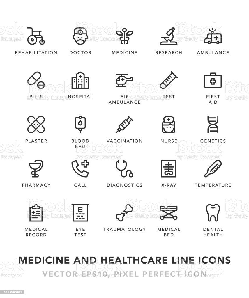 Medicine and Healthcare Line Icons vector art illustration