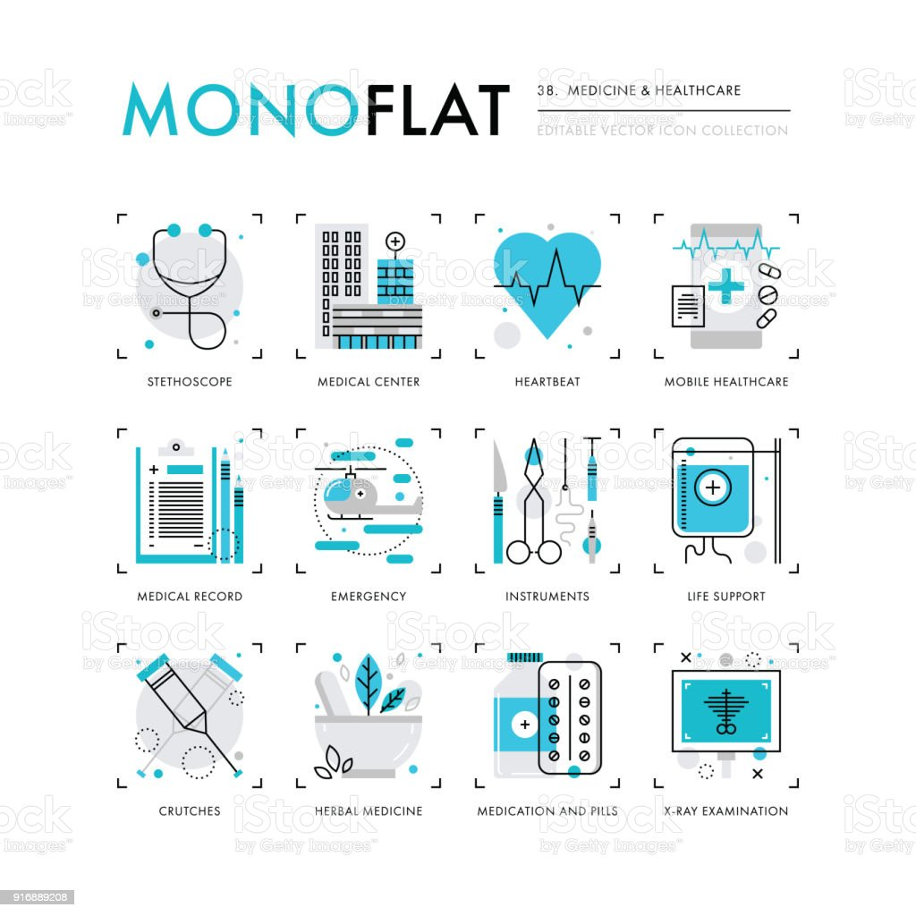 Medicine and Healthcare Monoflat Icons vector art illustration
