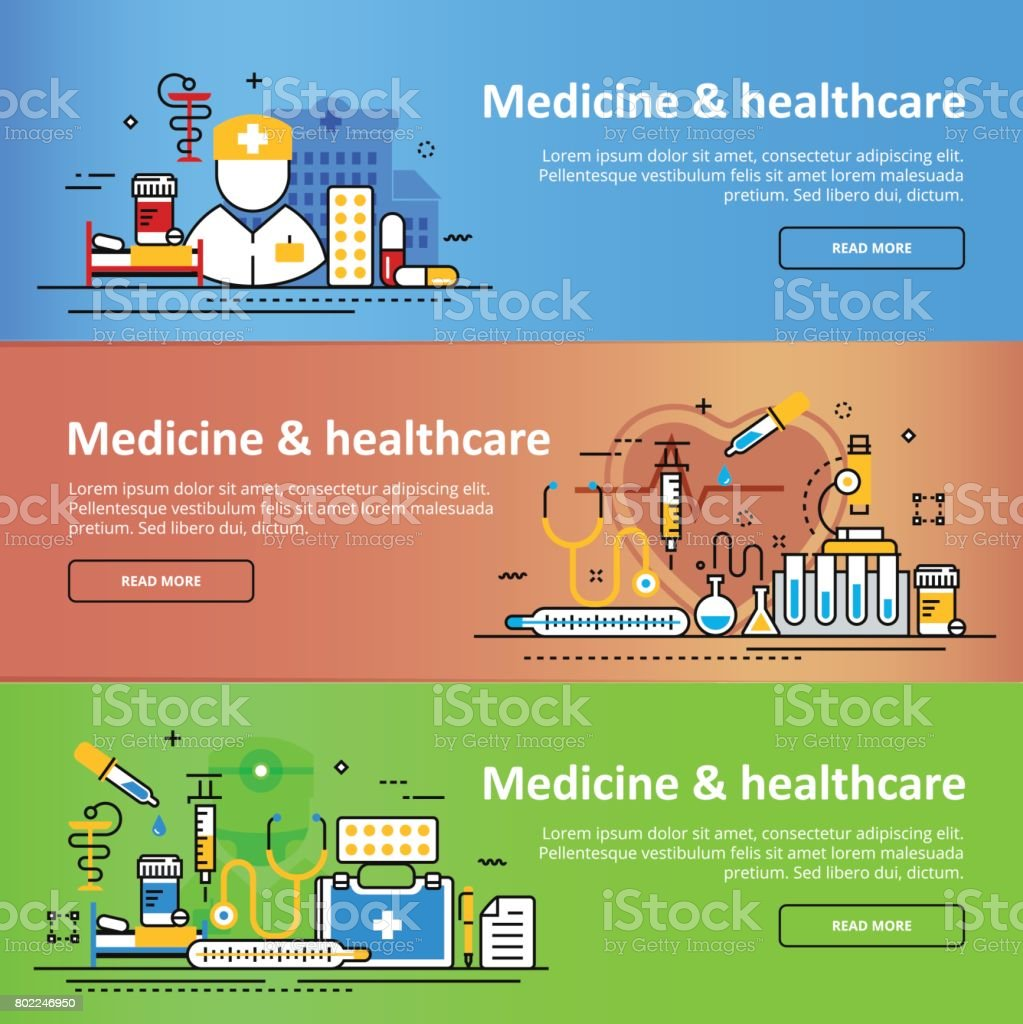 Medicine and healthcare service colorful header banner set vector art illustration
