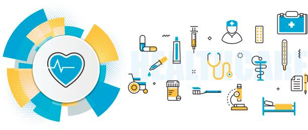 Medicine and healthcare service header banner in circles element vector art illustration