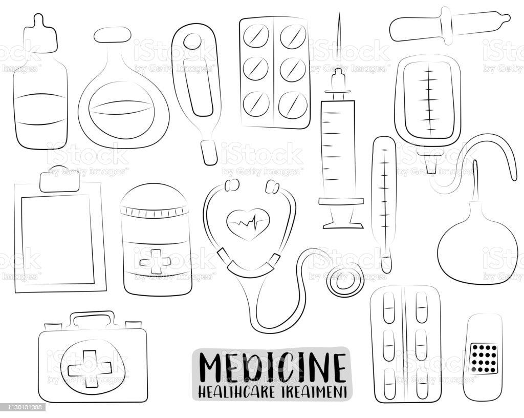 Ilustración De Medicina Y Cuidado De La Salud Conjunto De