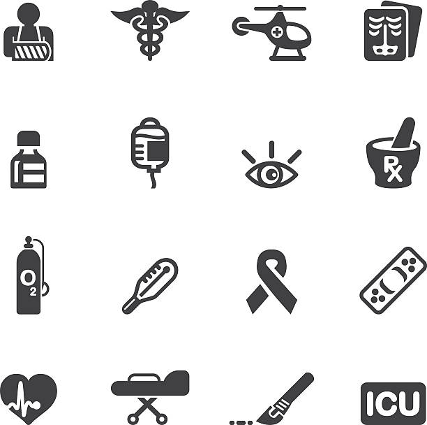 Medicine and Healthcare Silhouette icons 2 Medicine and Healthcare Silhouette icons 2 laboratory glassware stock illustrations