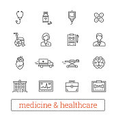 Medicine thin line icons: medical services, ambulance, health care tools, diagnostic equipment, pharmacology, reanimation and outpatient treatment. Vector design elements for web, mobile, applications, prints.