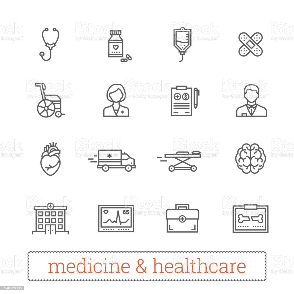 Medicine and healthcare thin line vector icons. vector art illustration