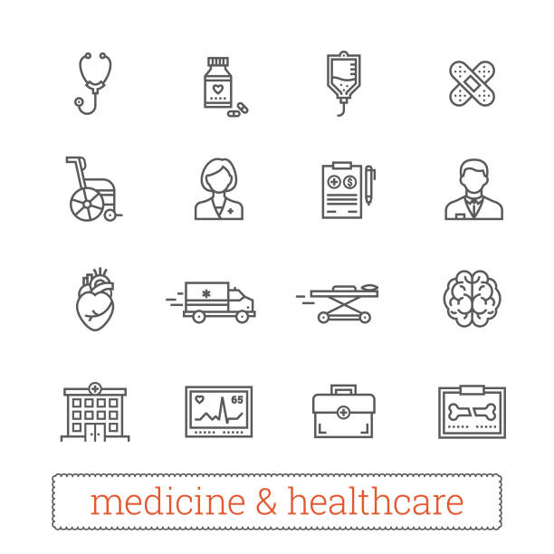 Medicine and healthcare thin line vector icons. Medicine thin line icons: medical services, ambulance, health care tools, diagnostic equipment, pharmacology, reanimation and outpatient treatment. Vector design elements for web, mobile, applications, prints. outpatient stock illustrations