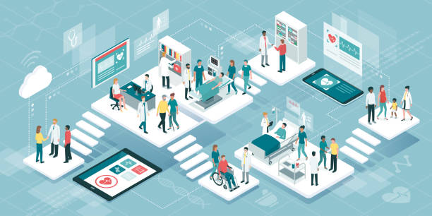 Medicine and healthcare Isometric virtual medical clinic with rooms, patients and doctors: medicine, healthcare and technology concept doctor and patient stock illustrations