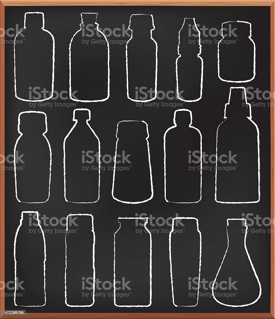 Medicine and liquid bottles on blackboard royalty-free stock vector art