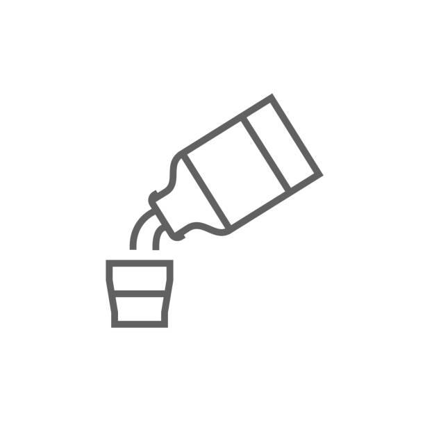 illustrazioni stock, clip art, cartoni animati e icone di tendenza di medicine and measuring cup line icon - dose