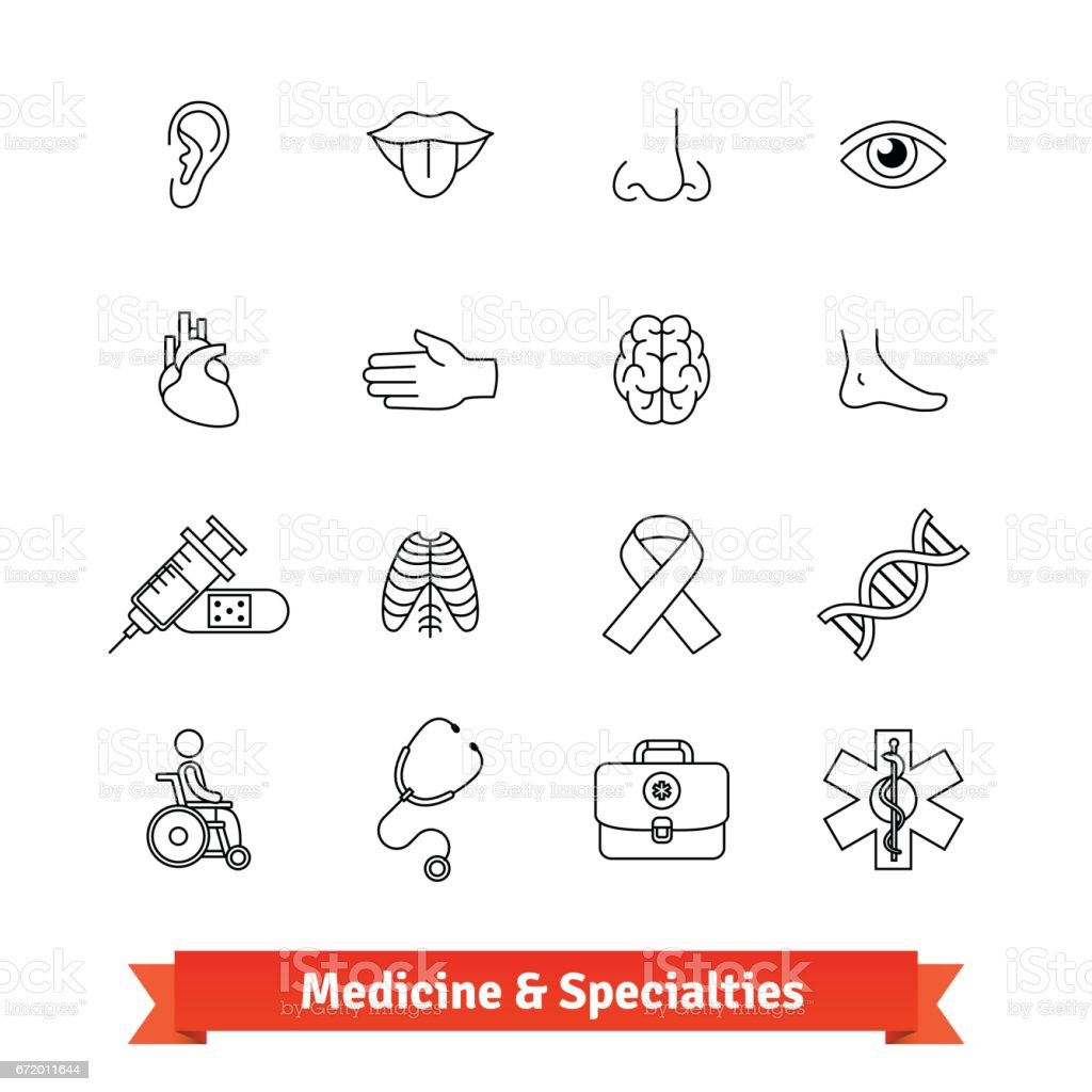 Medicine and medical specialties. Icons set vector art illustration