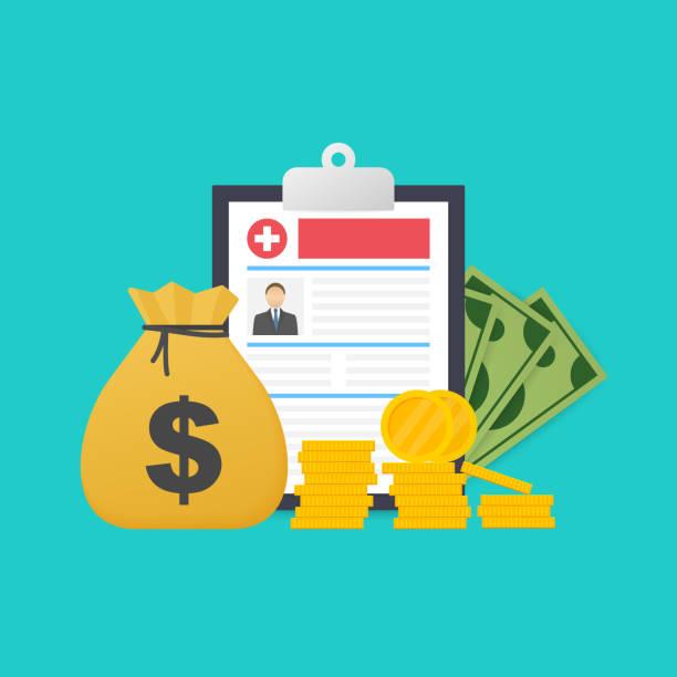 stockillustraties, clipart, cartoons en iconen met geneeskunde en geld concept. ziektekostenverzekering vorm concept. vullen van medische documenten. vector illustratie. - snavel