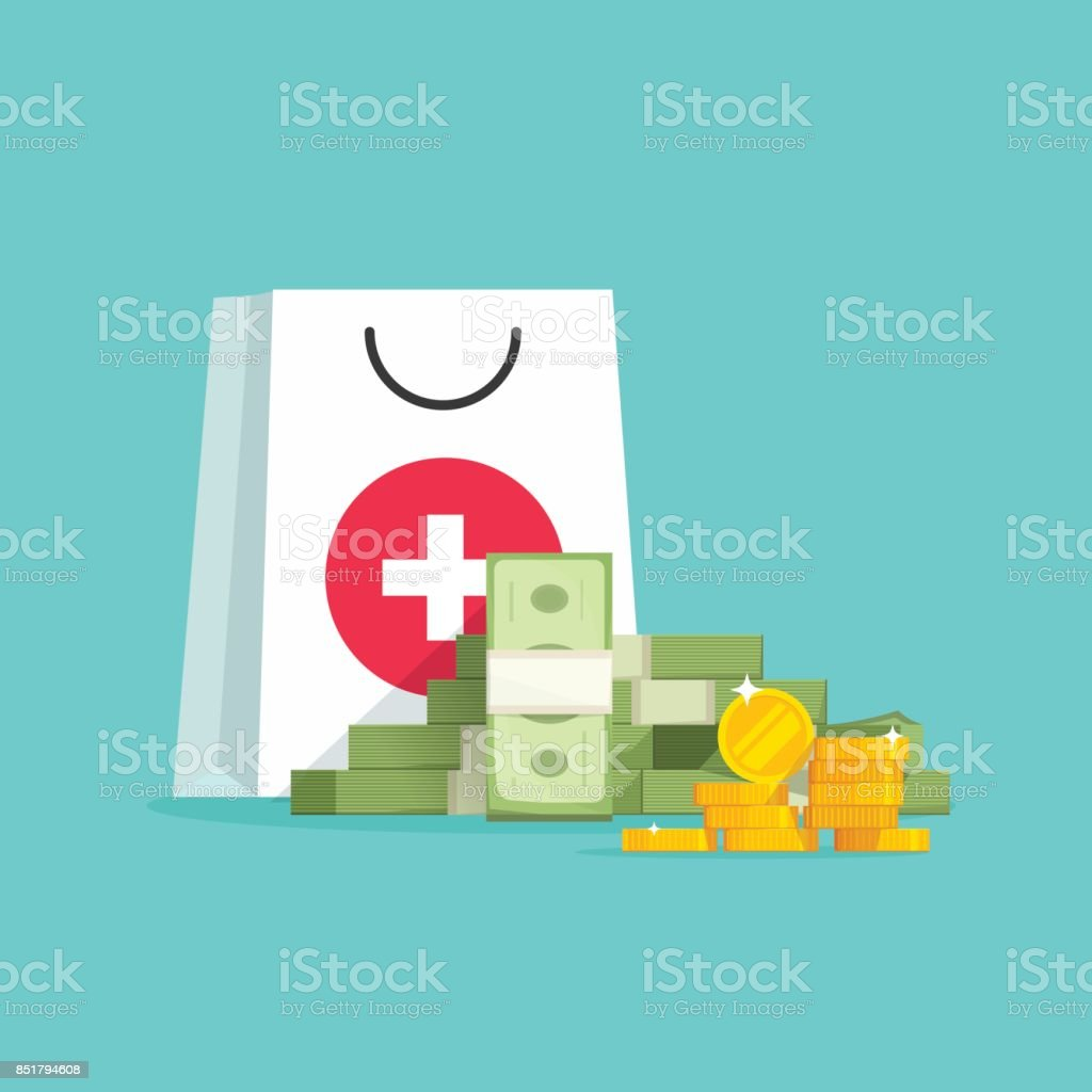 Medicine and money vector concept illustration, flat cartoon money pile and medical or pharmacy bag, expensive medical care, big spendings on drugs prescription vector art illustration