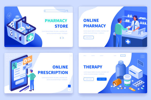 medicine and pharmacy Medicine  and pharmacy banners templates. Can use for backgrounds, infographics, hero images. Flat isometric modern vector illustration. pharmaceutical industry stock illustrations