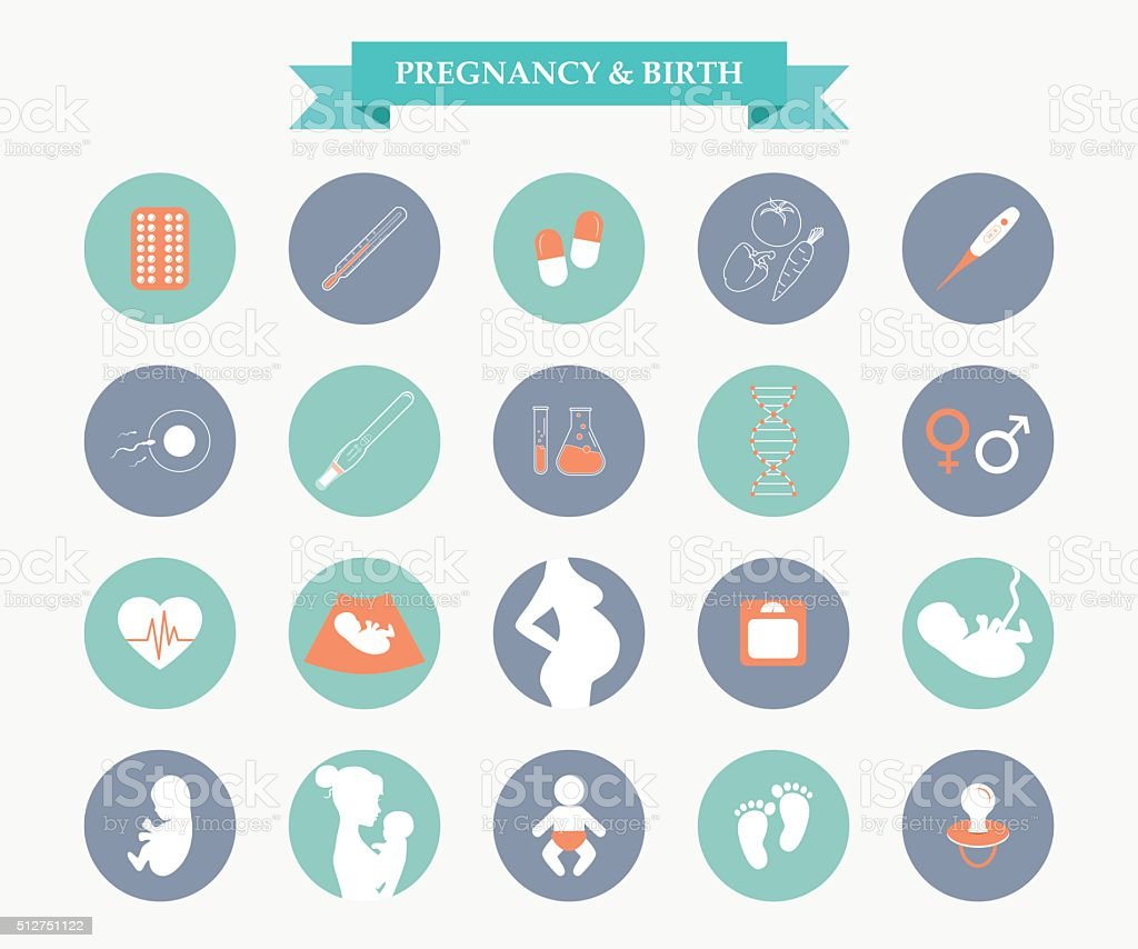 Medicine and pregnancy vector icons set vector art illustration