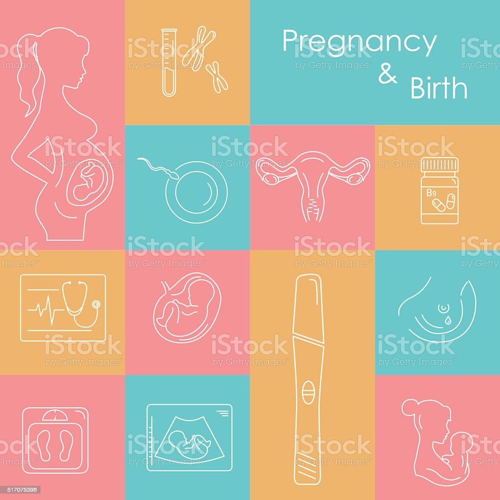 Medicine and pregnancy vector icons set. vector art illustration