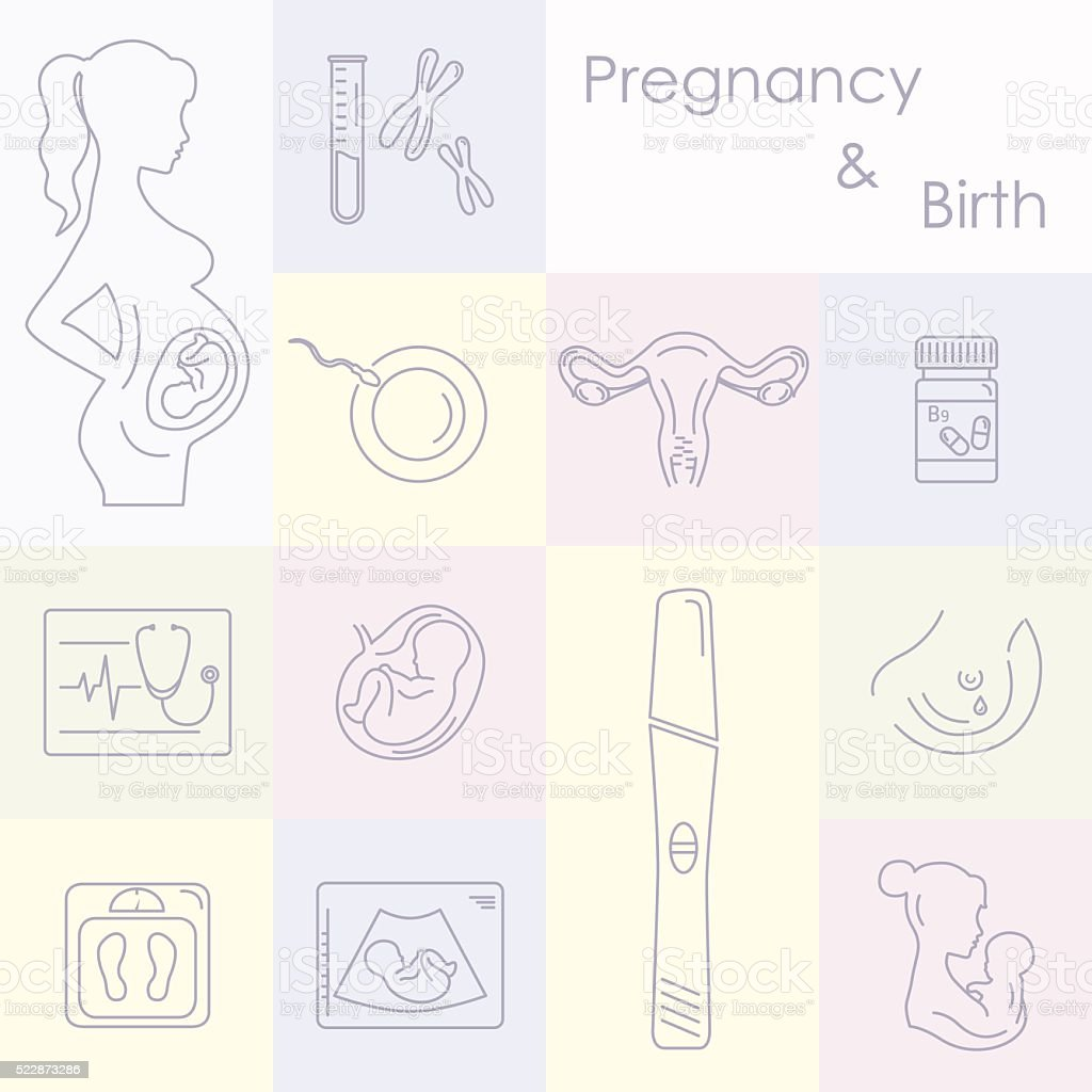 Medicine and pregnancy vector line icons set vector art illustration