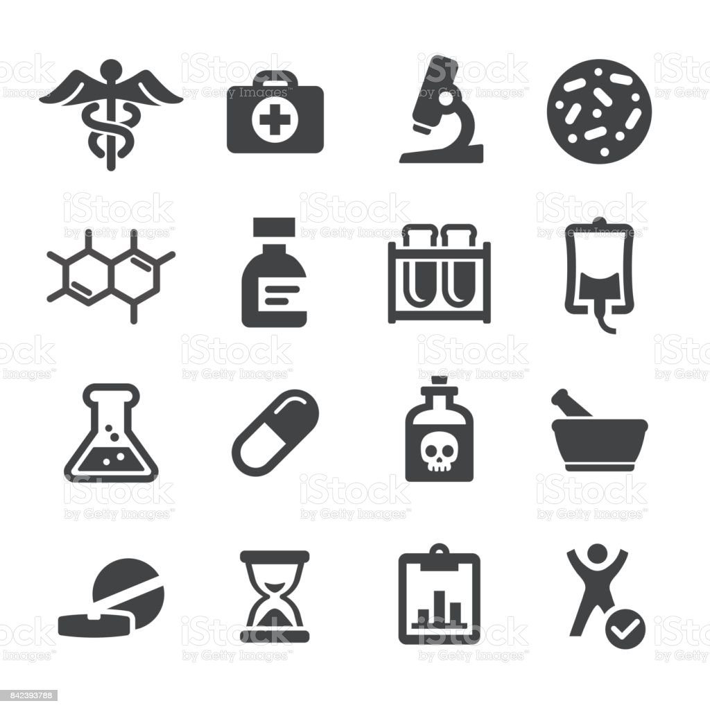 Medicina e pesquisa ícones - série Acme - ilustração de arte em vetor