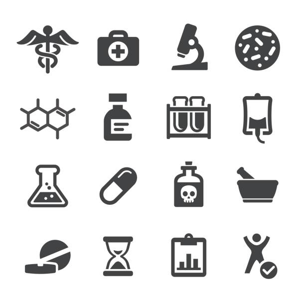 illustrazioni stock, clip art, cartoni animati e icone di tendenza di medicine and research icons - acme series - farmaco