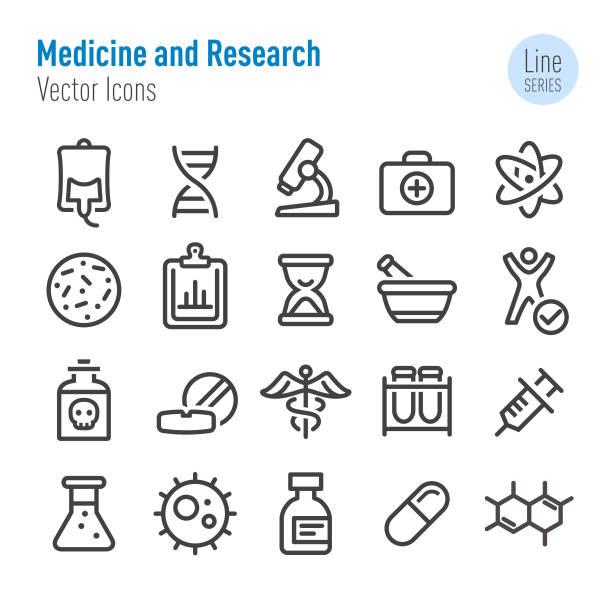 ilustrações, clipart, desenhos animados e ícones de medicina e pesquisa ícones - linha série - pesquisa médica