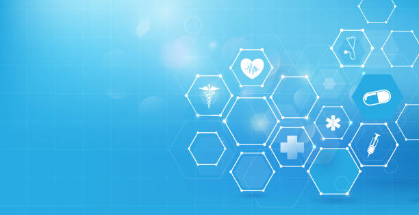 Medicine and science with abstract digital hi tech hexagons on blue background Medicine and science with abstract digital hi tech hexagons on blue background backgrounds icons stock illustrations