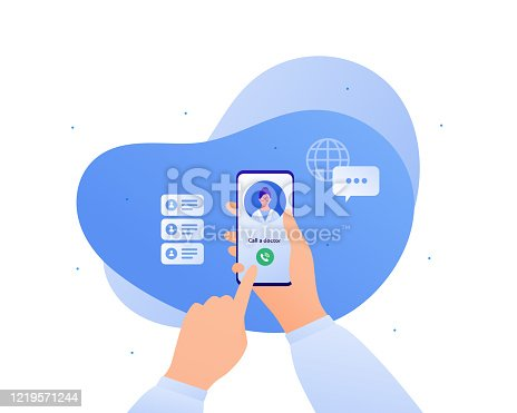 Medicine and telehealth concept. Vector flat person illustration. Hands holding smart phone with telemedicine app. Patient call to female doctor. Design for medicine banner, poster, infographics.