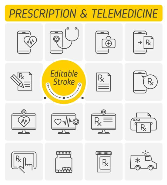 ilustraciones, imágenes clip art, dibujos animados e iconos de stock de medicina y telemedicina contorno vector conjunto de iconos. - telehealth