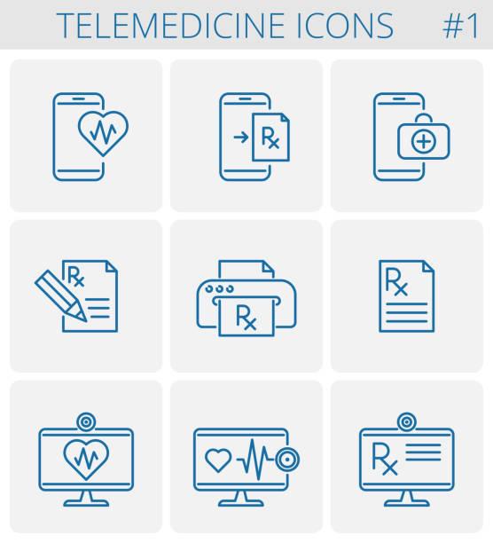 ilustraciones, imágenes clip art, dibujos animados e iconos de stock de medicina y telemedicina vector esquema conjunto de iconos. - telehealth