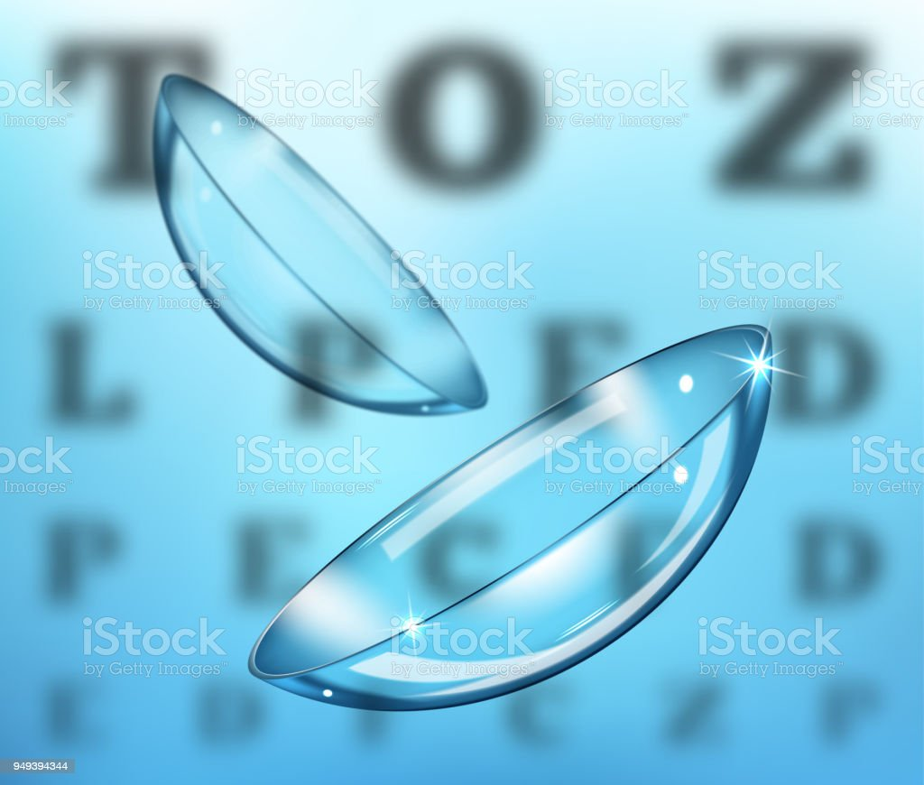 Medicine and vision concept - contact lenses on eyesight test chart background vector art illustration