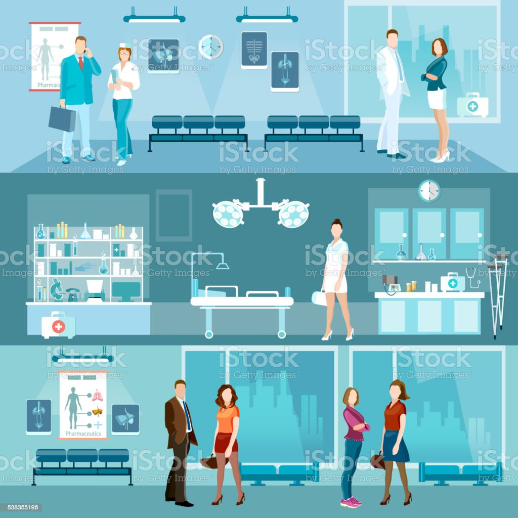 Medicine banners interior hospital doctor and patient vector art illustration