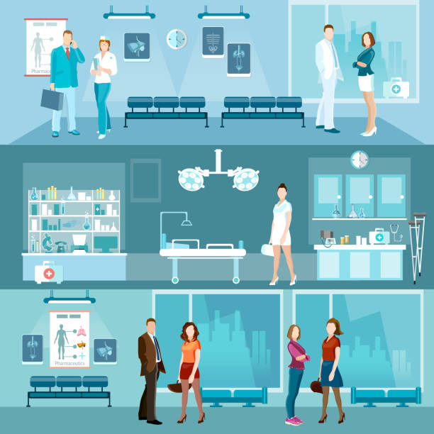 medicine banners interior hospital doctor and patient - doctors office stock illustrations, clip art, cartoons, & icons