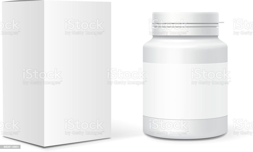 Medicine blank plastic bottle, cardboard packaging box. Realistic vector vector art illustration