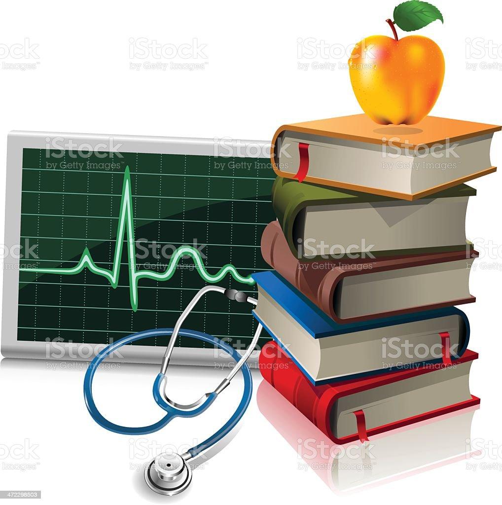 Medicine books vector art illustration