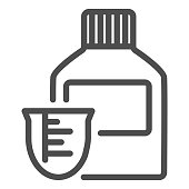 Medicine bottle and dose measuring cup line icon. Vitamin syrup symbol, outline style pictogram on white background. Medical or pharmacy sign for mobile concept, web design. Vector graphics