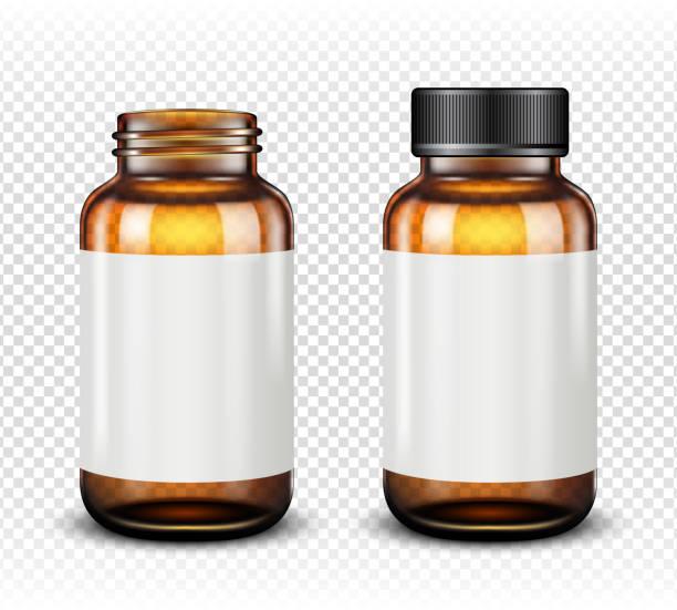 illustrazioni stock, clip art, cartoni animati e icone di tendenza di medicine bottle of brown glass isolated on transparent background - vitamina