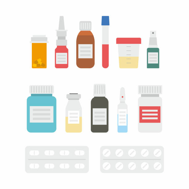 illustrazioni stock, clip art, cartoni animati e icone di tendenza di medicine bottles collection - farmaco