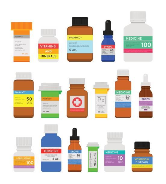 butelki z lekarstwami płaski zestaw - lekarstwo stock illustrations