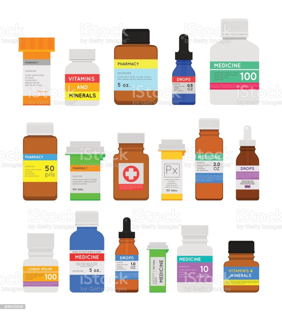 Medicine bottles flat set vector art illustration